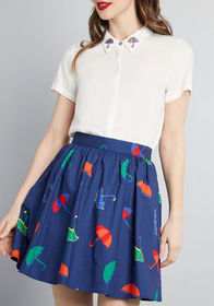 ModCloth Share Your Flair Skater Skirt in Navy Blu