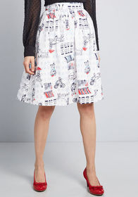 ModCloth Charming Cotton Skirt with Pockets in Whi