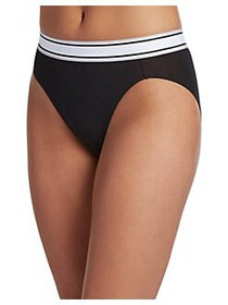 Jockey Retro Stripe Hi-Cut Briefs BLACK