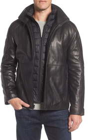 Marc New York Hartz Leather Jacket with Quilted Bi