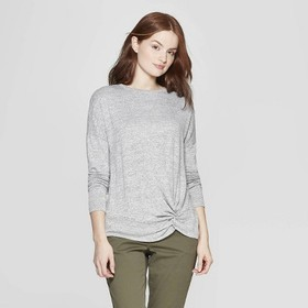 Women's Easy Fit Long Sleeve Crewneck Banded Colla