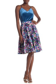 Gracia Printed Faux Leather Pleated A-Line Skirt