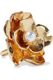 KENNETH JAY LANE Gold-tone faux pearl ring