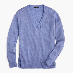 J. Crew V-neck sweater with side buttons in linen