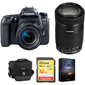 Canon EOS 77D DSLR Camera with 18-55mm and 55-250m