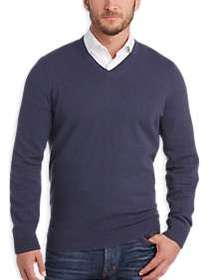 Joseph Abboud Crown Blue V-Neck Cashmere Sweater