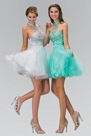 Elizabeth K - GS2130 Jeweled High Neck Tulle A-lin
