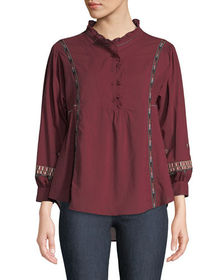 Neiman Marcus Ruffle-Neck Embroidered Button-Front