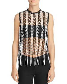 AQUA - Fringed Sheer Lace Top - 100% Exclusive