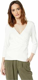 Vince Camuto 3/4 Sleeve Wrap Front Knit Top