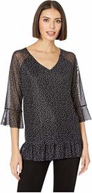 Tribal Printed Mesh 3/4 Sleeve V-Neck Trop with Fr