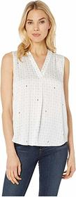 Vince Camuto Sleeveless V-Neck Geo Accents Blouse