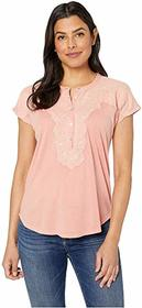 Lucky Brand Washed Applique Henley Top