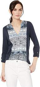 Lucky Brand Printed Button Front Top