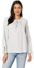 Lucky Brand Metallic Embroidery Peasant Top
