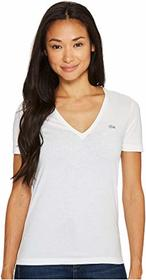 Lacoste Short Sleeve Solid V-Neck Jersey Tee