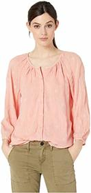 Lucky Brand Embroidered Button Peasant Top