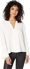 1.STATE Long Sleeve Button Down Fringe Sleeve Blou