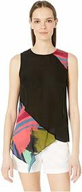 Nicole Miller Abstract Paint Asymmetrical Top