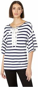 Tribal Stripe Knit Crepe Short Sleeve Top with Eye