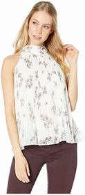 1.STATE Halter Tie Pleated Floral Belle Blouse