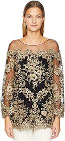 Marchesa Corded Lace Off the Shoulder Tunic with 3