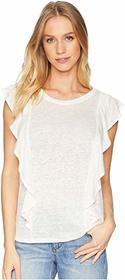1.STATE Short Sleeve Linen Top with Ruffle Edge