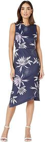 Vince Camuto Printed Scuba Bodycon Dress with Asym