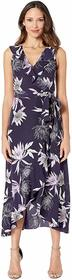 Vince Camuto Printed CDC V-Neck Faux Wrap Dress
