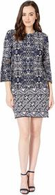 Vince Camuto Printed ITY T-Body Dress with 3/4 Sle