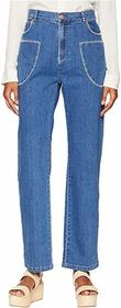 See by Chloe Bootcut Jeans with White Stitch in Sh