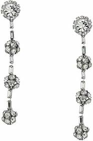 "Kenneth Jay Lane 3"" Silver with Clear Crystal Five"