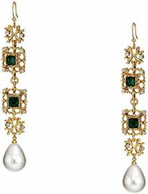 Kenneth Jay Lane Antique Gold/Crystal/Emerald/Whit