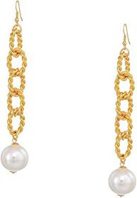 "Kenneth Jay Lane 5"" Gold Braided Links with Pearl"