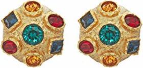 Kenneth Jay Lane Small Gold with Multi Gem Clip Ea