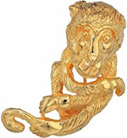 Kenneth Jay Lane Satin Gold Monkey Pin