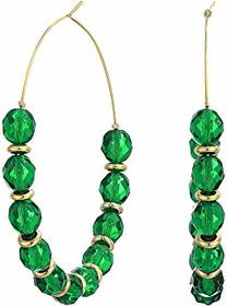 Kenneth Jay Lane Faceted Emerald with Gold/Large H