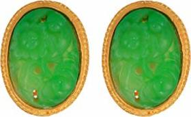 Kenneth Jay Lane Satin Gold Trim/Carved Jade Caboc
