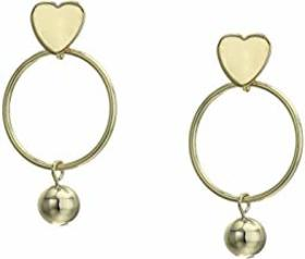 Kenneth Jay Lane Gold Heart Top with Round Hoop/Ba
