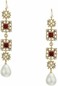 Kenneth Jay Lane Antique Gold/Crystal/Ruby/White P