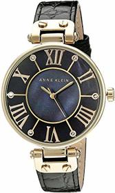Anne Klein AK/1396BMBK Black and Gold-Tone Leather