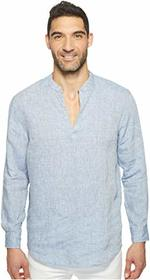 Perry Ellis Long Sleeve Solid Linen Popover Shirt