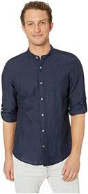 Perry Ellis Solid Linen Cotton Rolled Sleeve Bande