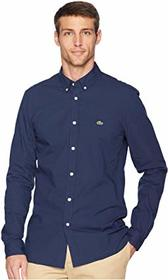 Lacoste Long Sleeve Solid Poplin Stretch Button Do