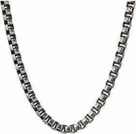 "Steve Madden Stainless Steel 26"" Box Chain Necklac"