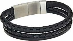 Fossil Multi-Strand Leather Bracelet with Stainles