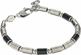 Fossil Stainless Steel and Black Agate Bracelet