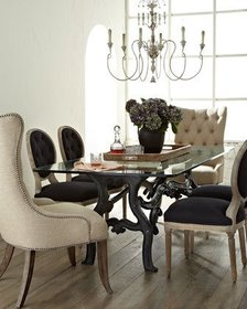 Two Donabella Tufted Chairs Two Black Linen Dining