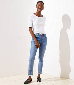 Stitched Soft Slim Pocket Skinny Crop Jeans in Pur