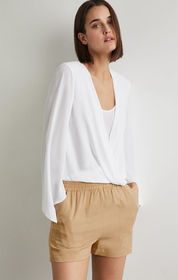 BCBG Handkerchief Sleeve Wrap Top